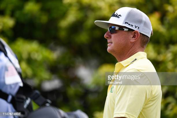 Charley Hoffman walks off the first tee box during the final round of the Charles Schwab Challenge at Colonial Country Club on May 26 2019 in Fort...