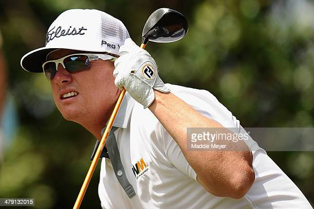 Charley Hoffman watches his tee shot on the 3rd hole during the final round of the Valspar Championship at Innisbrook Resort and Golf Club on March...
