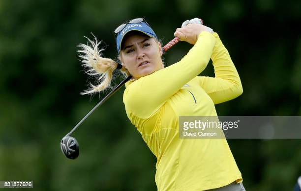 Charley Hull of England and the European Team during practice for the 2017 Solheim Cup Matches at Des Moines Country Club on August 15 2017 in West...
