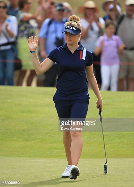 Charley Hull of England celebrates a birdie putt on the 15th green during the third round of the Ricoh Women's British Open at Royal Birkdale on July...