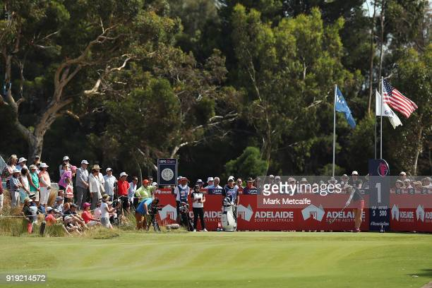 Charley Hull of England hits her tee shot on the 1st hole during day three of the ISPS Handa Australian Women's Open at Kooyonga Golf Club on...
