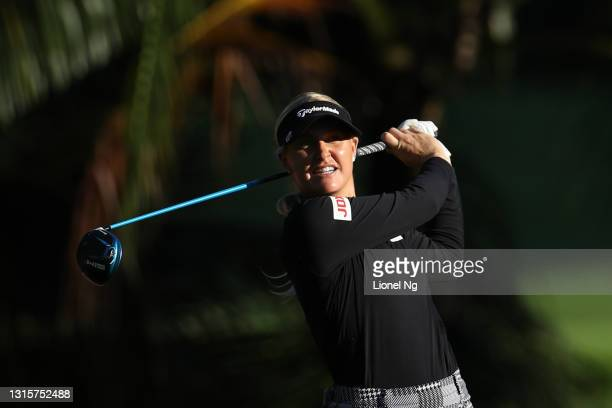 Charley Hull of England hits her tee shot on the 2nd hole during the final round of the HSBC Women's World Championship at Sentosa Golf Club on May...