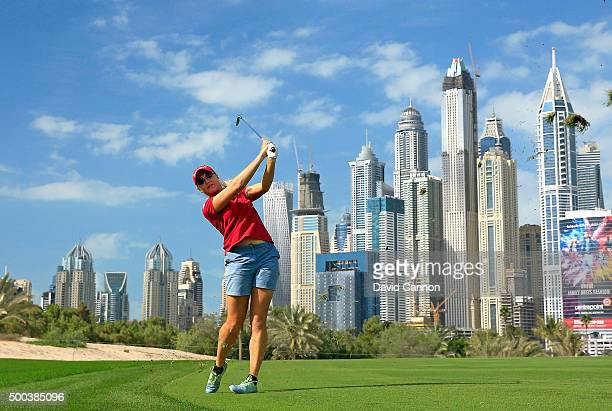 Charley Hull of England in action during the pro-am as a preview for the 2015 Omega Dubai Ladies Masters on the Majlis Course at The Emirates Golf...