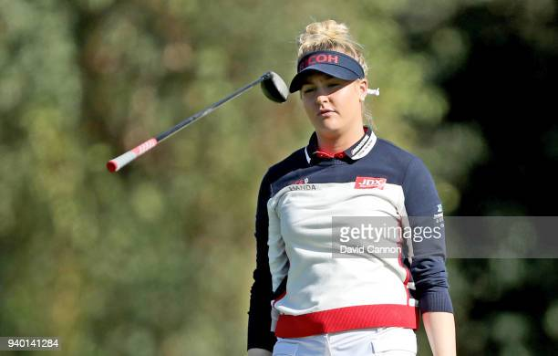 Charley Hull of England lets go of her club after hitting her second shot on the par 5 second hole during the second round of the 2018 ANA...