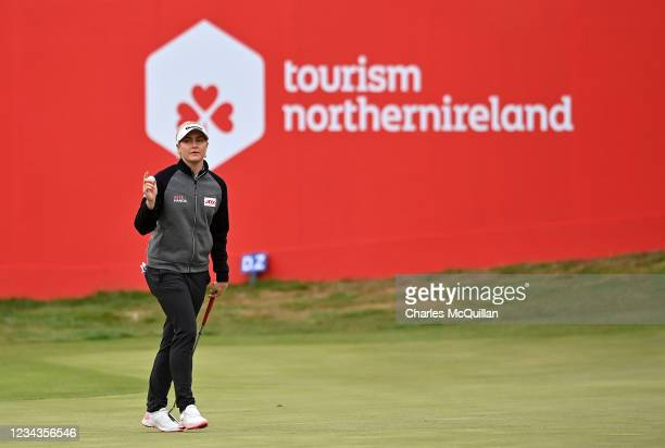 Charley Hull of England on the 18th during Day Three of The ISPS HANDA World Invitational at Galgorm Spa & Golf Resort on July 31, 2021 in Ballymena,...