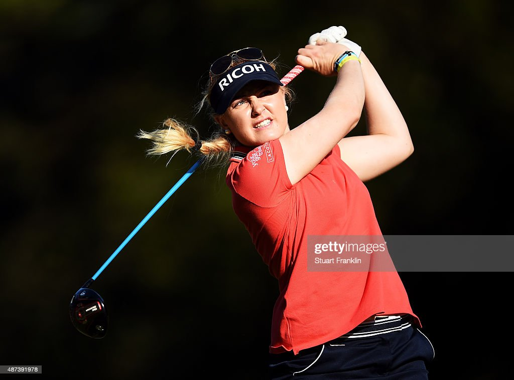 Charley Hull of England plays a shot during practice prior to the start of the Evian Championship Golf on September 9, 2015 in Evian-les-Bains, France.