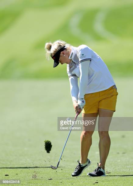 Charley Hull of England plays a shot during the proam as a preview for the 2018 ANA Inspiration on the Dinah Shore Tournament Course at Mission Hills...