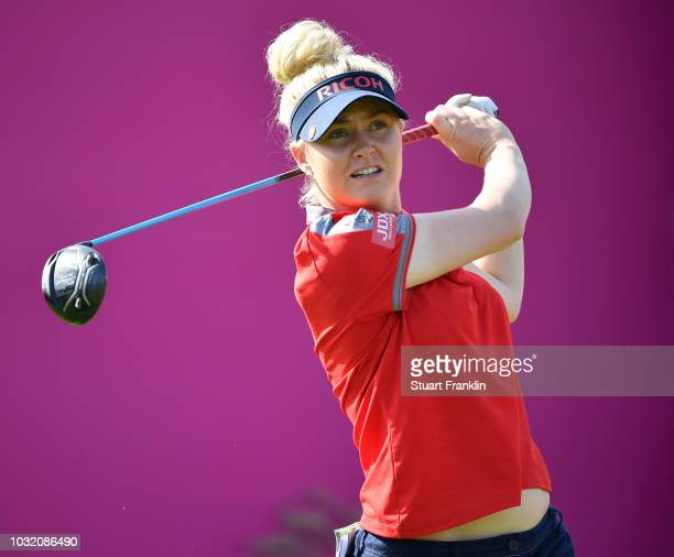 Charley Hull of England plays a shot during the proam of the Evian Championship 2018 at Evian Resort Golf Club on September 12 2018 in EvianlesBains...