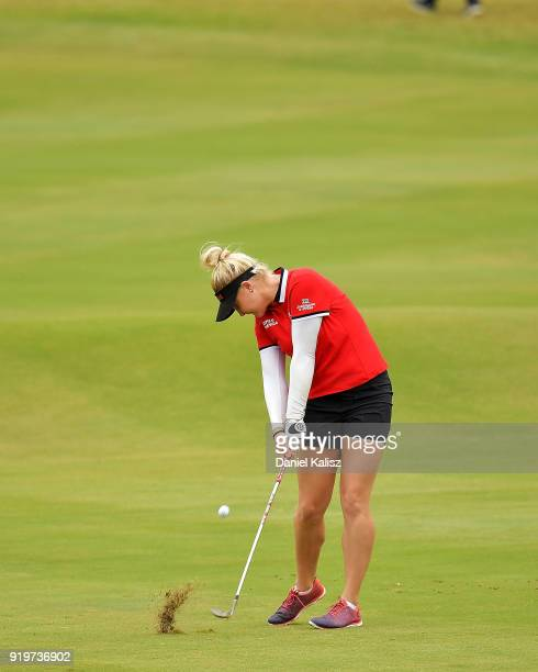 Charley Hull of England plays her second shot on the first hole during day four of the ISPS Handa Australian Women's Open at Kooyonga Golf Club on...