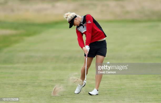 Charley Hull of England plays her second shot on the fourth hole during the second round of the Ricoh Women's British Open at Royal Lytham and St...