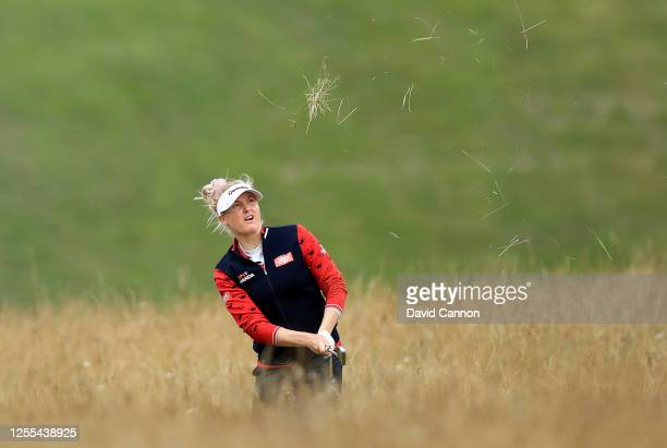 Charley Hull of England plays her seconds shot on the 15th hole during the Clutch Pro Tour Major on The Downs Course at Goodwood Golf Club Golf Club...