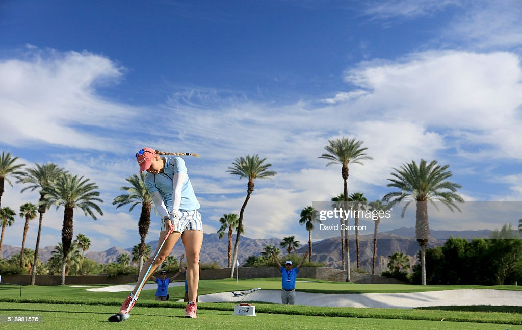 Charley Hull of England plays her tee shot at the par 4, 16th hole during the final round of the 2016 ANA Inspiration at the Mission Hills Country Club on April 3, 2016 in Rancho Mirage, California.