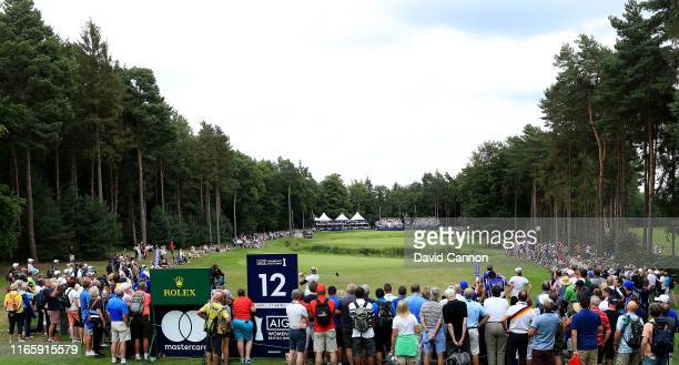 Charley Hull of England plays her tee shot on the par 4, 12th hole during the third round of the AIG Women's British Open on the Marquess Course at...