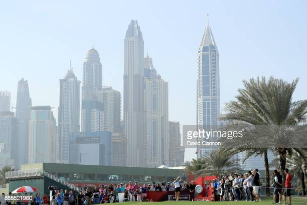 Charley Hull of England plays her tee shot on the par 4 17th hole during the final round of the 2017 Dubai Ladies Classic on the Majlis Course at The...