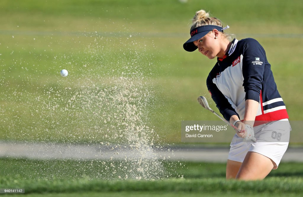 Charley Hull of England plays her third shot on the par 5, second hole during the second round of the 2018 ANA Inspiration on the Dinah Shore Tournament Course at Mission Hills Country Club on March 30, 2018 in Rancho Mirage, California.