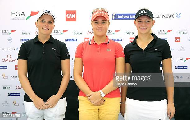 Charley Hull of England poses with Nanna Koerstz Madsen of Denmark and Emily Kristine Pedersen of Denmark the two contenders for the Ladies European...