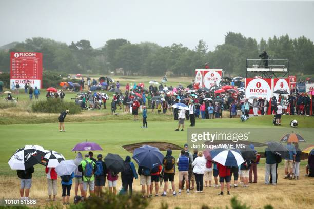 Charley Hull of England putts on the 17th green during the second round of the Ricoh Women's British Open at Royal Lytham & St. Annes on August 3,...