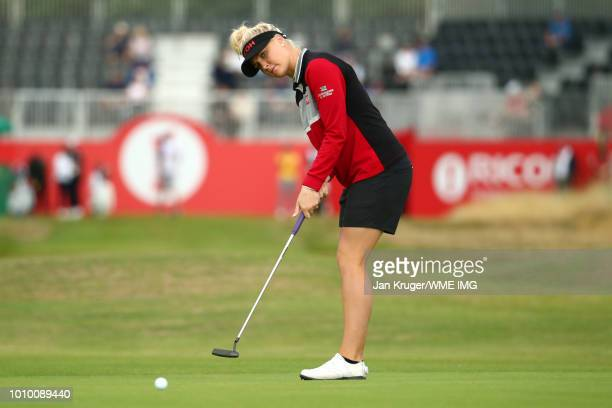Charley Hull of England putts on the 1st green during the second round of the Ricoh Women's British Open at Royal Lytham & St. Annes on August 3,...