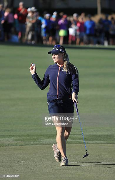 Charley Hull of England reacts to her winning putt on the 18th green during the final round of the CME Group Tour Championship at Tiburon Golf Club...