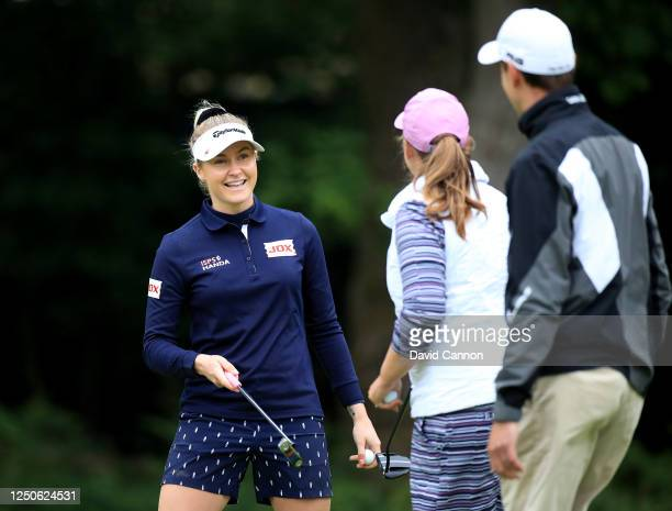 Charley Hull of England shakes hands on the 18th green at the end of her play-off with Liz Young during The Rose Ladies Series at Brokenhurst Manor...