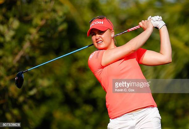 Charley Hull of England tees off the fourth hole during the first round of the Pure Silk Bahamas LPGA Classic at the Ocean Club Golf Course on...