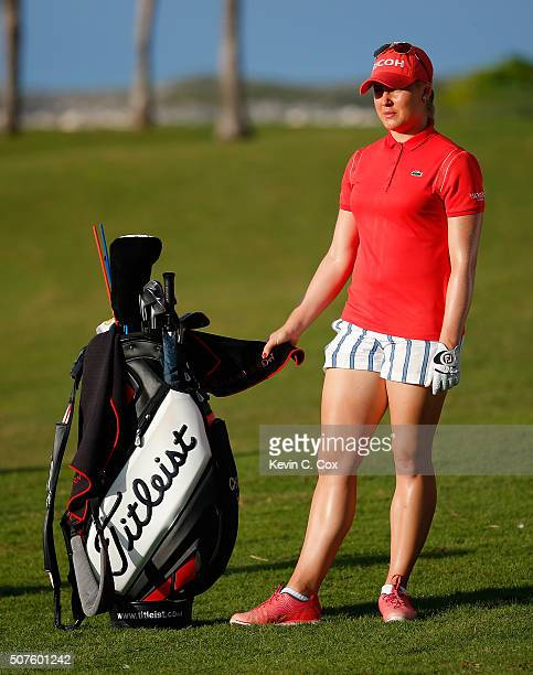 Charley Hull of England waits to play her second shot on the 16th hole during the third round of the Pure Silk Bahamas LPGA Classic at the Ocean Club...