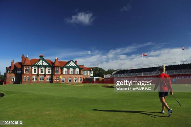 Charley Hull of England walks to the 18th green during a pro-am round ahead of the Ricoh Women's British Open at Royal Lytham & St. Annes on July 31,...