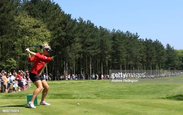 Charley Hull of England Women tees off on the 2nd hole during day two of the GolfSixes at The Centurion Club on May 6 2018 in St Albans England