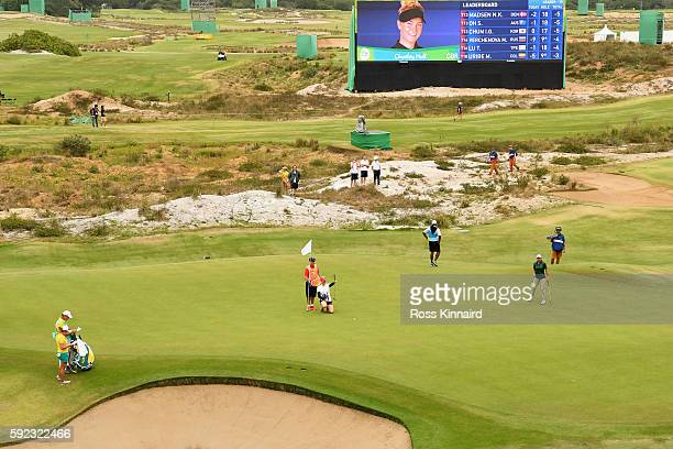 Charley Hull of Great Britain lines up a putt on the 18th green during the Women's Golf Final on Day 15 of the Rio 2016 Olympic Games at the Olympic...