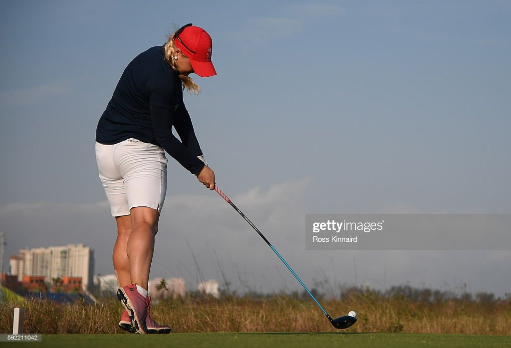 Charley Hull of Great Britain on the 18th tee during the third round of the Women's Individual Stroke Play golf on day 14 of the Rio Olympics at the Olympic Golf Course on August 19, 2016 in Rio de Janeiro, Brazil.