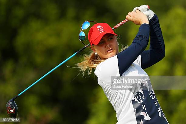 Charley Hull of Great Britain plays her shot from the fifth tee on Day 15 of the Rio 2016 Olympic Games at the Olympic Golf Course on August 20 2016...
