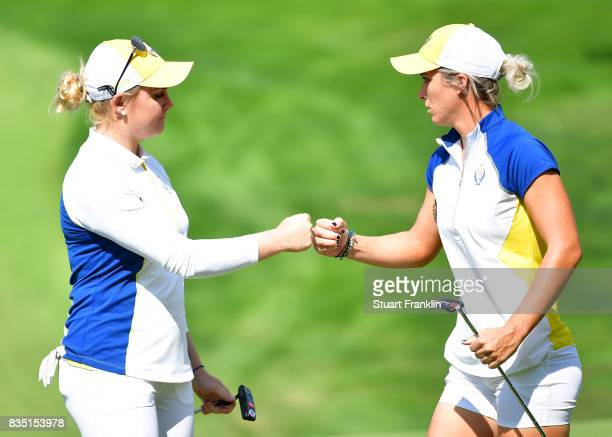Charley Hull of Team Europe celebrates during the morning foursomes matches of The Solheim Cup at Des Moines Golf and Country Club on August 18 2017...
