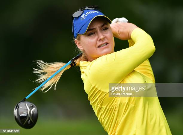 Charley Hull of Team Europe plays a shot during practice for The Solheim Cup at the Des Moines Country Club on August 15 2017 in West Des Moines Iowa