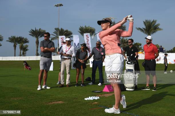 Charley Hull participates in a golf clinic on Day One of the Fatima Bint Mubarak Ladies Open at Saadiyat Beach Golf Club on January 10 2019 in Abu...