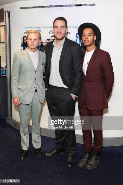 Charley Merkell director Gabe Turner and Harley Sylvester AlexanderSule attend the UK Premiere of The Guvnors at Odeon Covent Garden on August 27...
