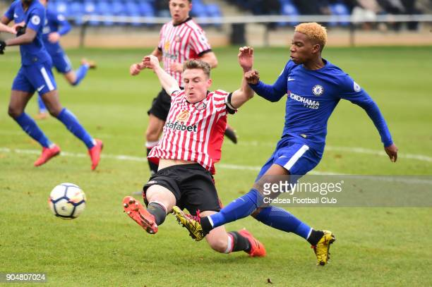 Charley Musonda shoots at goal during the Premier League 2 match between Sunderland U23 and Chelsea U23 at Eppleton Colliery Welfare Ground on...