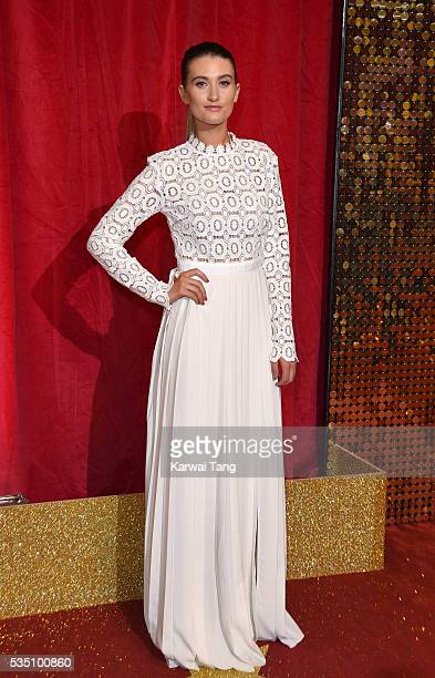 Charley Webb arrives for the British Soap Awards 2016 at the Hackney Town Hall Assembly Rooms on May 28 2016 in London England