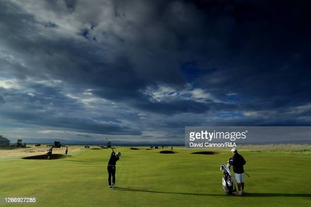 CharleyHull of England plays a shot during a practice round ahead of the AIG Women's Open 2020 at Royal Troon on August 18, 2020 in Troon, Scotland.