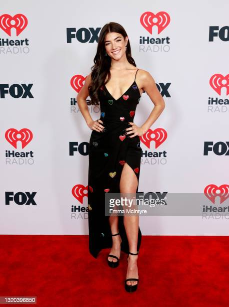 Charli D'Amelio attends the 2021 iHeartRadio Music Awards at The Dolby Theatre in Los Angeles, California, which was broadcast live on FOX on May 27,...