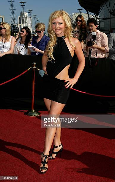 Charli Delaney arrives on the red carpet at the 2009 ARIA Awards at Acer Arena, Sydney Olympic Park on November 26, 2009 in Sydney, Australia. The...