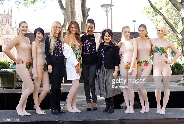 Charli DelaneyJesinta CampbellFaustina Agolley and Fiona O'Loughlin pose alongside models at the launch of Girls Night in 2010 on Septmeber 7 2010 in...