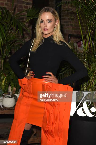 Charli Fisher attends the Wolf Badger 10th Year Anniversary party during London Fashion Week February 2020 at Coal Drops Yard on February 13 2020 in...