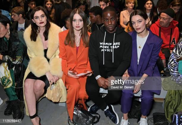 Charli Howard Aimee Lou Wood Ncuti Gatwa and Emma Mackey attend the House of Holland AW19 London Fashion Week catwalk show showcasing the...