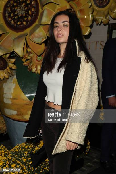Charli XCX arrives for dinner at Scott's Mayfair Restaurant with Addison Rae and Cecilia Cantarano to celebrate Pandora ME collection re-launch on...
