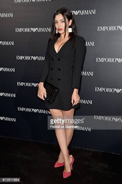 Charli XCX attends the Emporio Armani show as part of the Paris Fashion Week Womenswear Spring/Summer 2017 on October 3 2016 in Paris France