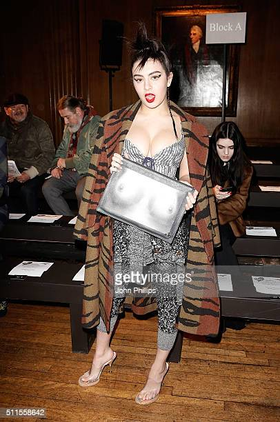 Charli XCX attends the Vivienne Westwood show during London Fashion Week Autumn/Winter 2016/17 on February 21 2016 in London England