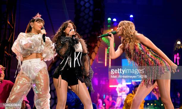 Charli XCX Camila Cabello and Taylor Swift onstage during the Taylor Swift reputation Stadium Tour at ATT Stadium on October 5 2018 in Arlington Texas