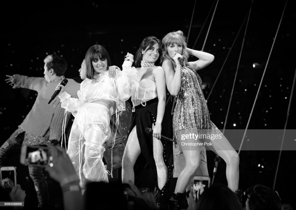 Charli XCX, Camila Cabello and Taylor Swift perform onstage during opening night of Taylor Swift's 2018 Reputation Stadium Tour at University of Phoenix Stadium on May 8, 2018 in Glendale, Arizona.