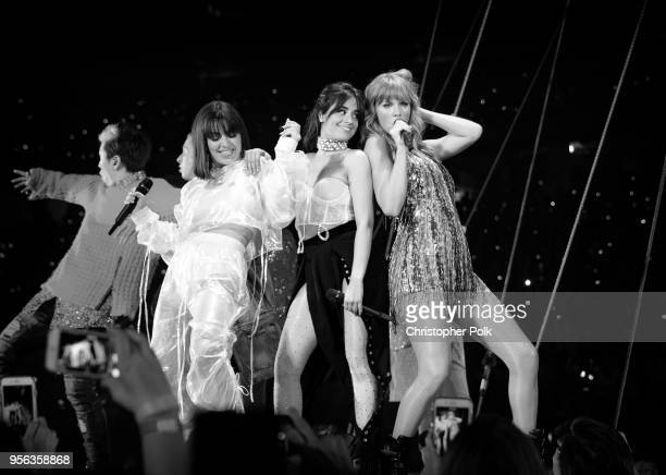 Charli XCX Camila Cabello and Taylor Swift perform onstage during opening night of Taylor Swift's 2018 Reputation Stadium Tour at University of...