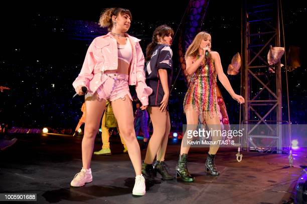 Charli XCX Camila Cabello and Taylor Swift perform onstage during the Taylor Swift reputation Stadium Tour at Gillette Stadium on July 26 2018 in...